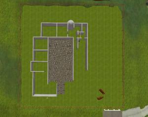 Luftfoto af Falstergården under opførelse i Second Life