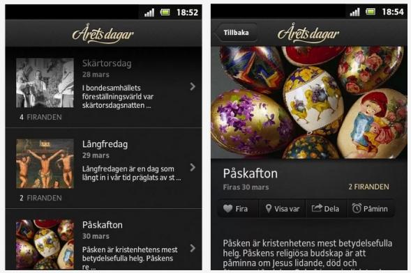"""I appén """"Årets dagar"""" som handler om livets fester, kan brugere bidrage til appéns præsentation med fotos via instagram"""