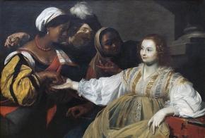 "Nicholas Regnier: ""The Fortune Teller"", ca.  1626 (Louvre). Originalfilen findes på Wikimedia Commons."