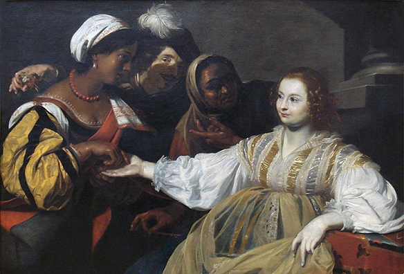 "Nicholas Regnier: ""The Fortune Teller"", ca.  1626 (Louvre). Originalfilen findes på Wikimedia Commons."