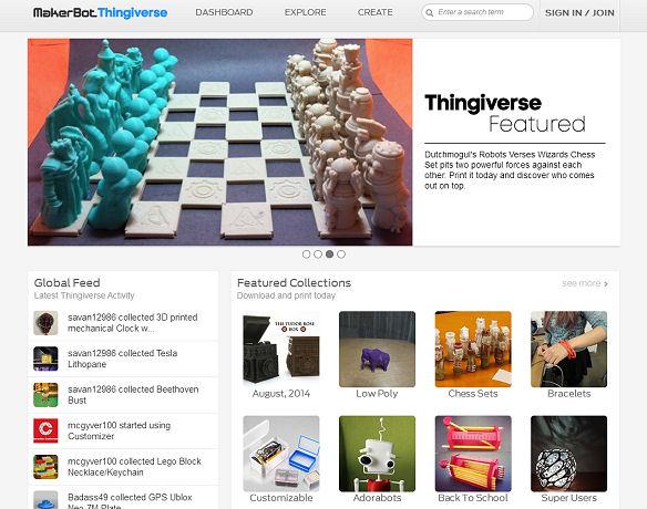"""Screendump af 3D-delingssiten """"Thingiverse"""""""